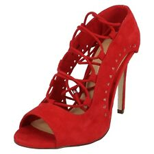 6dbf8bb8b2d2 Ladies Spot on Lace up Front Slim HEELS PEEP Toe Court Shoes Sandals F10548 Red  UK