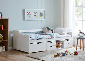 Cabin Wooden Day Bed in White Kids Bed Childrens Bunk with Drawers 3FT Single