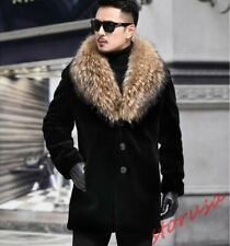 Men Faux Racoon Fur Coat Winter Warm Fur Collar Jacket Slim Outdoor Parka Jacket