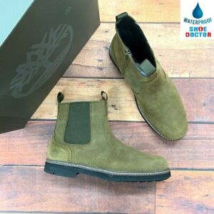 Timberland Men's Squall Canyon Waterproof Olive Leather Chelsea Boots A297W
