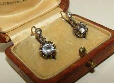 BRILLIANT, ANTIQUE, GEORGIAN, FRENCH 18CT GOLD DORMEUSES EARRINGS/WHITE SAPPHIRE