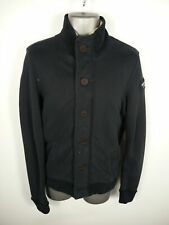 MENS ABERCROMBIE & FITCH NAVY ZIP/BUTTON UP BORG FLEECE LINED JACKET UK S SMALL