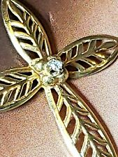 Vintage 14K Yellow Gold Cross Pendant with Diamond Center