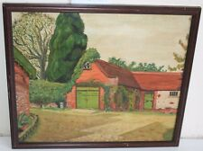 1948 Old Landscape Oil Painting Exterior of a Coach House