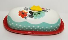 "*The Pioneer Woman Flea Market 6.4"" Butter Dish with Butterfly Lid"