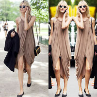 Womens Boho Chiffon Sleeveless Ruched Pleated Maxi Long Dress Evening Cocktial