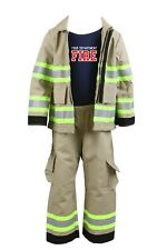 Personalized Toddler Firefighter 3-Piece Outfit with TAN Pants & Jacket