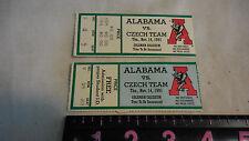 University of Alabama 1991  Ticket Stubs VS CZECHTEAM