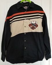 Harley Davidson Small LS Snap Front Work Shirt 4 Aces Deck of Cards Casino Bike