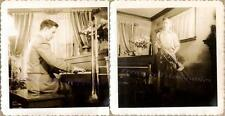 1920s Young Man Plays Grand Piano Trombone Musical Instrument Home Parlor Photos