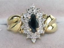 10K YELLOW GOLD .50 CARAT NATURAL SAPPHIRE & DIAMOND RING