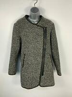WOMENS TU BLACK/GREY PATTERN CASUAL SIDE ZIP UP WINTER OVER COAT JACKET SIZE 12