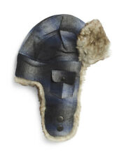 NWT WOOLRICH WOOL BOMBER AVIATOR TRAPPER HAT Blue GRAY PLAID XL NEW MENS