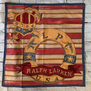 "RARE! VTG Ralph Lauren Cotton Bandana Scarf Multicolor Nautical Theme 22""x 23"""