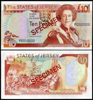 JERSEY 10 POUNDS QE II 1993 SIGN GEORGE BAIRD P 22 SPECIMEN UNC