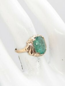 Antique 1930s BDA Signed 4ct Colombian Emerald 10k Yellow Gold ART DECO Ring