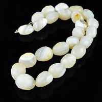 882.50 CTS NATURAL WHITE AGATE 20 INCHES LONG UNTREATED FACETED BEADS NECKLACE