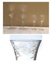 Vintage Etched Floral Wine Glasses & 1 oz. Glass Stemmed Shot Glass Cordials 4PC