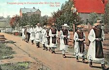 OKA QUEBEC CA~TRAPPISTS MONKS GOING TO FIELDWORK AFTER MID-DAY REST POSTCARD