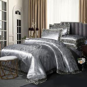 Lace Bedding set 4pcs Upscale Satin jacquard Duvet cover Flat sheets pillowcases