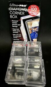 (4 Boxes) Ultra Pro 100 Card 2-Piece DIAMOND CORNER Storage Box Slide Snap Lock
