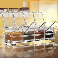 Spice Rack Container Sugar Food Kitchen Storage Box w/ 4 Spoons