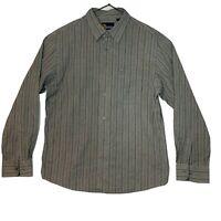 Men's Nautica Grey Cotton Striped Casual Button Up Shirt Large