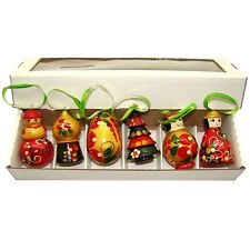 Décoration Sapin Noël - Figurines en bois Sapin, Bonhomme de Neige, Poupée Russe