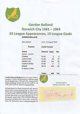 GORDON Bolland NORWICH CITY 1961-1964 mano originale firmato di taglio