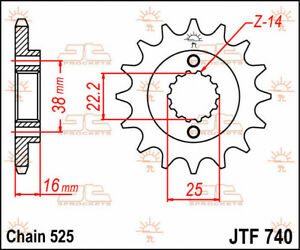 Jtf740.14 front replacement sprocket 14 teeth 525 pitch natural steel - DUCAT...