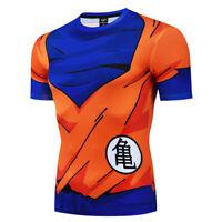 Mens Dragon Ball Compression T-Shirt Gym Sport Super Saiyan Fitness Tops Tee