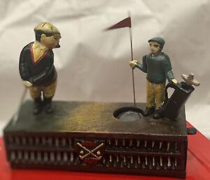 """Antique Vintage Cast Iron Golfer's Bank """"Birdie Putt"""" MINT Condition Works Great"""