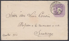 1892 Chile 5c  violet Stationery Envelope, Valparaio to Santiago (B/S)
