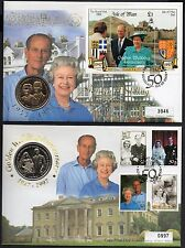 Isle of Man 1997 2 Coin FDCs for HM Queen Golden Wedding stamps & mini sheet