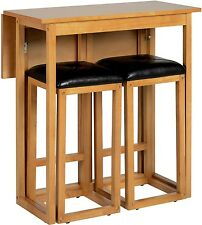 Small Oak Wooden Extending Extendable Folding Kitchen Dining Table and 2 Chairs