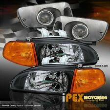 92-95 Honda Civic Hatch/Coupe JDM Black Headlight + Amber Signal Light+ Fog Lamp