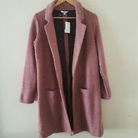 NEXT Women Blush Pink Revere Coatigan Smart Jacket Longline Coat Size 14, 18