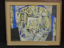 PAUL SHIMON Untitled Modernistic Scene Watercolor SIGNED Framed
