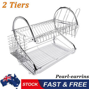 Kitchen 2-Tier Dish Drainer Rack Plate Bowl Cutlery Sink Tool Holder Dry Stand P