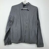 Eileen Fisher Moto Jacket Womens Large Asymmetrical Zip Gray Mock Collar Light