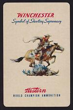 1 Single VINTAGE Swap/Playing Card ADV WINCHESTER AMMUNITION COWBOY & HORSE Art