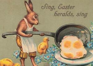 Rabbit With Frying Pan Fried Eggs Chicks Easter Germany c1910  P152