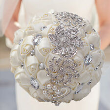 DOTKV Wedding Bouquet, Artificial Rose Posy with Satin Jeweled Throw Bouquet