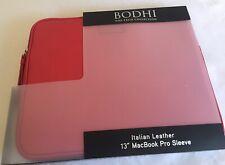"Bodhi Red Italian Leather 13"" MacBook/iPad Sleeve-New"