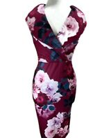 Quiz Dress - Berry & Teal Floral Wrap Front Midi Stretch Sleeveless Xmas Party