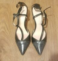 NEXT LEATHER COLLECTION BLACK& WHITE SUMMER PARTY OFFICE HEEL SHOES SIZE UK 6.5