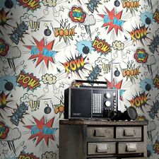 Rasch 272604 Kids Club POW Comic White Wallpaper