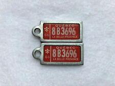 1966 QUEBEC Vintage Mini License Plate WAR AMPS KEY TAG PAIR # 8B 3696