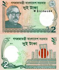 BANGLADESH 2 Taka Banknote World Paper Money UNC Currency Pick p52a Rahman Bill