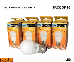 PACK OF 10 ECOLA 5.4W LED E27 ES GOLF BALL SMALL Globe Bulb Light COOL WHITE
